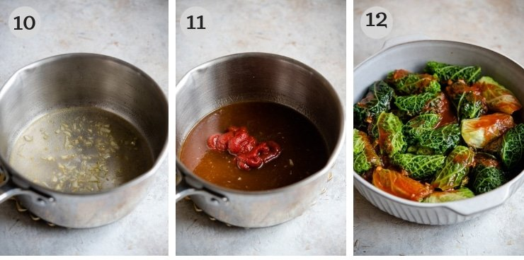 Step by step photos for making a tomato sauce for stuffed cabbage rolls