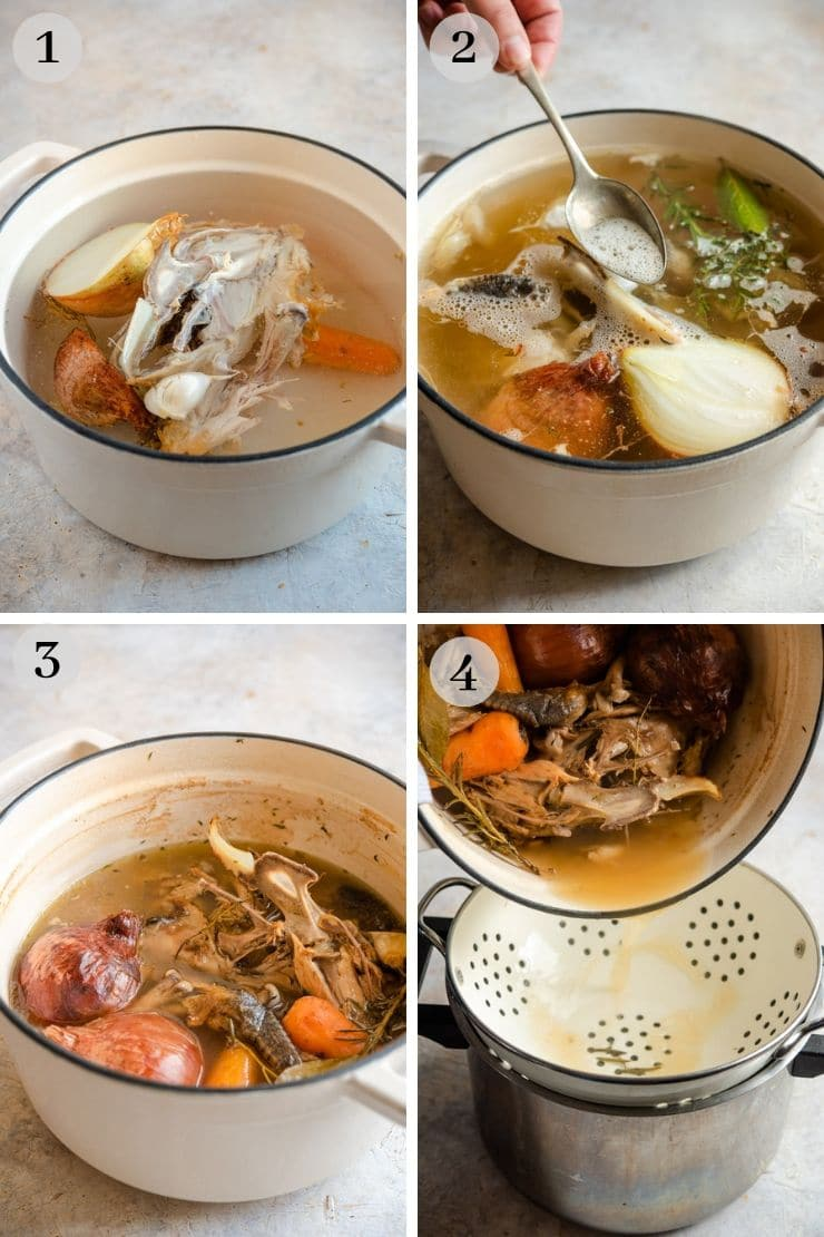 Step by step photos for making chicken stock for pastina soup