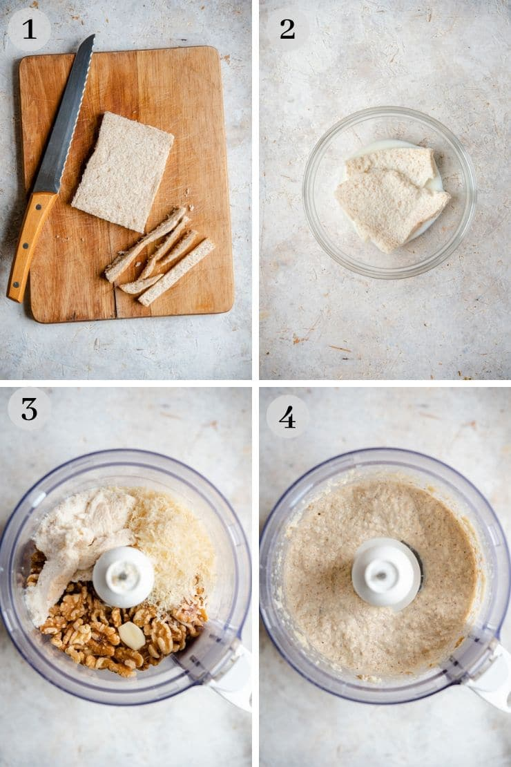 Step by step photos for making walnut sauce