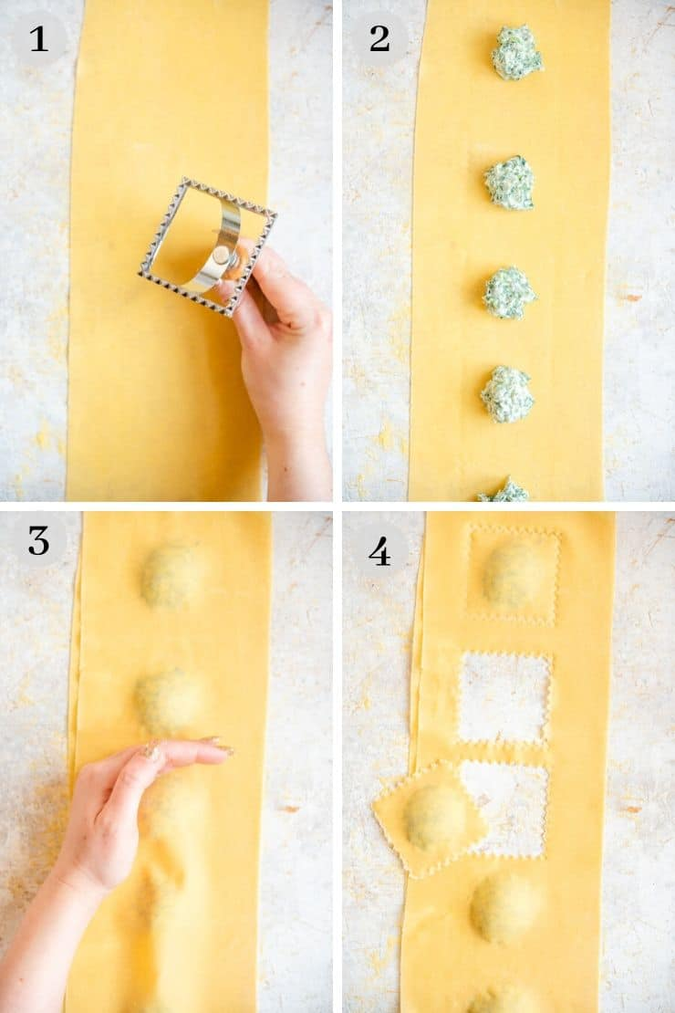 Step by step photos showing how to make ravioli with a ravioli stamp