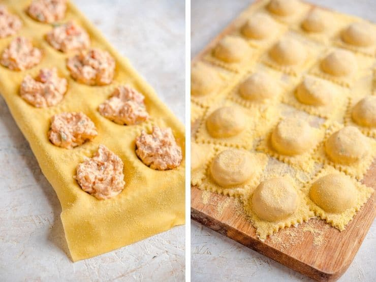 Two photos showing how to fill and seal lobster ravioli