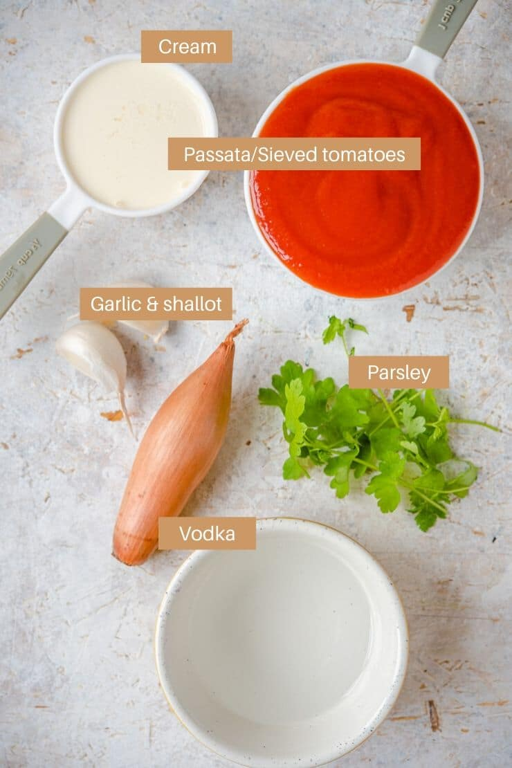 A photo of all of ingredients needed to make vodka cream sauce