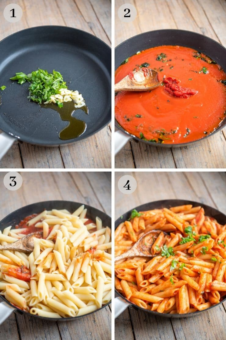 Step by step photos showing how to make penne pomodoro