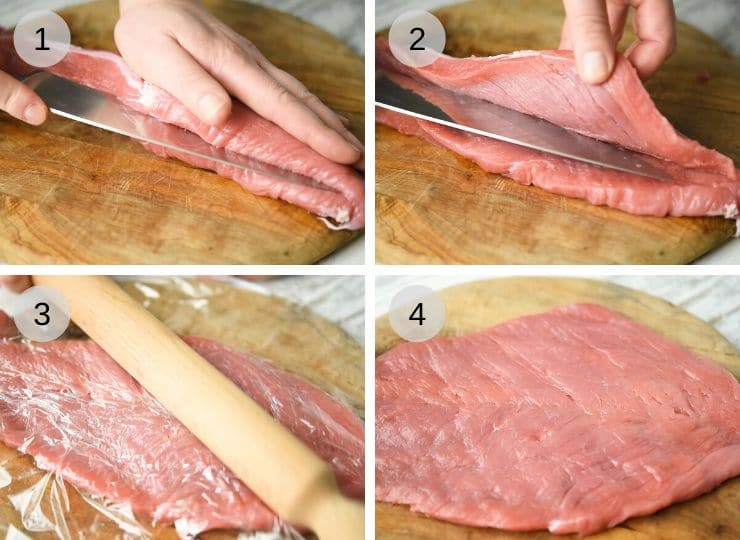Step by step photos showing how to butterfly a pork tenderloin