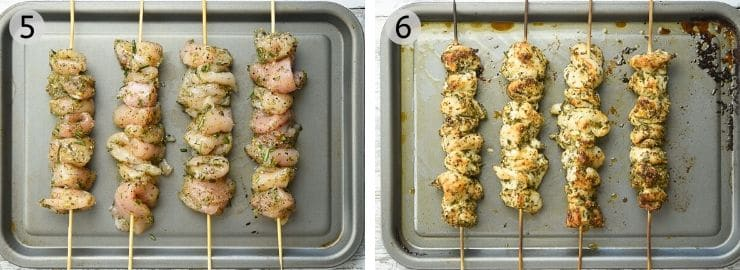 Two photos showing chicken threaded onto skewers before and after being cooked