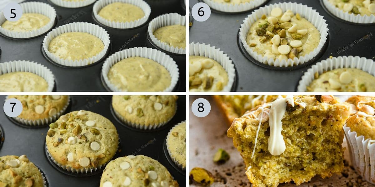 Four photos showing how to fill and bake pistachio muffins