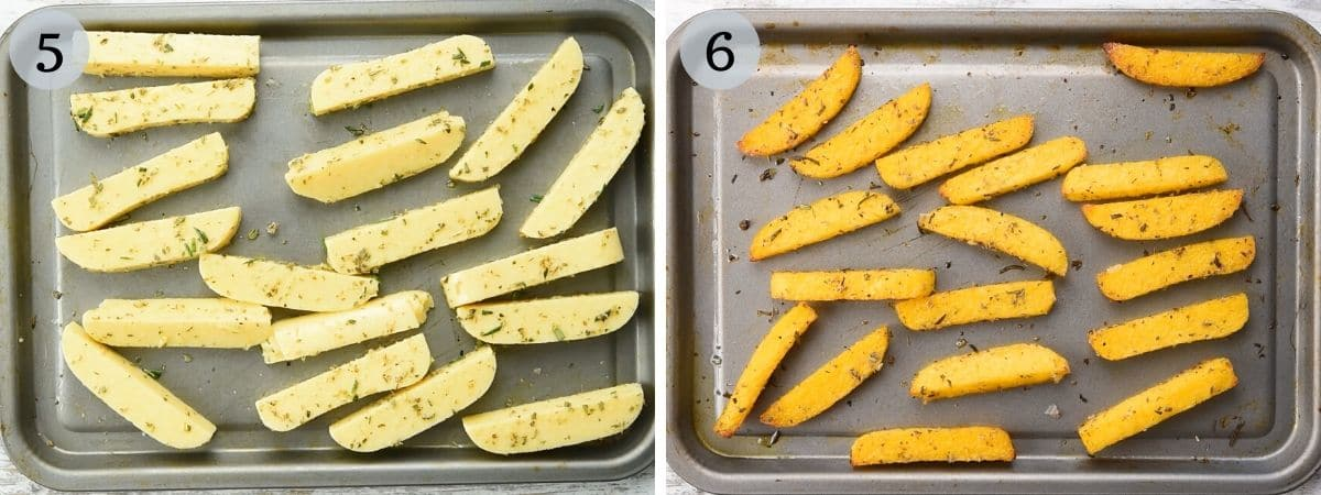 Two photos showing polenta before and after being baked