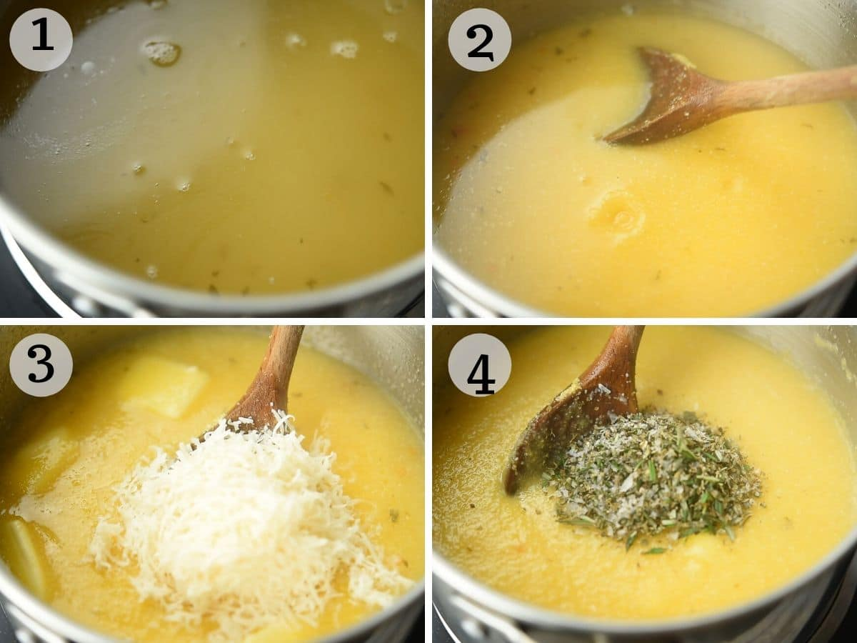 Step by step photos for making polenta from scratch