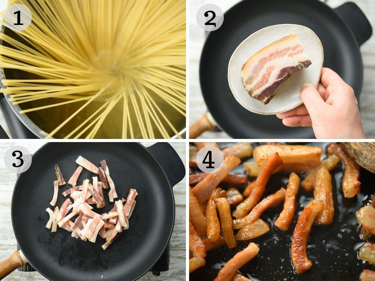 Step by step photos showing how to fry guanciale until crispy