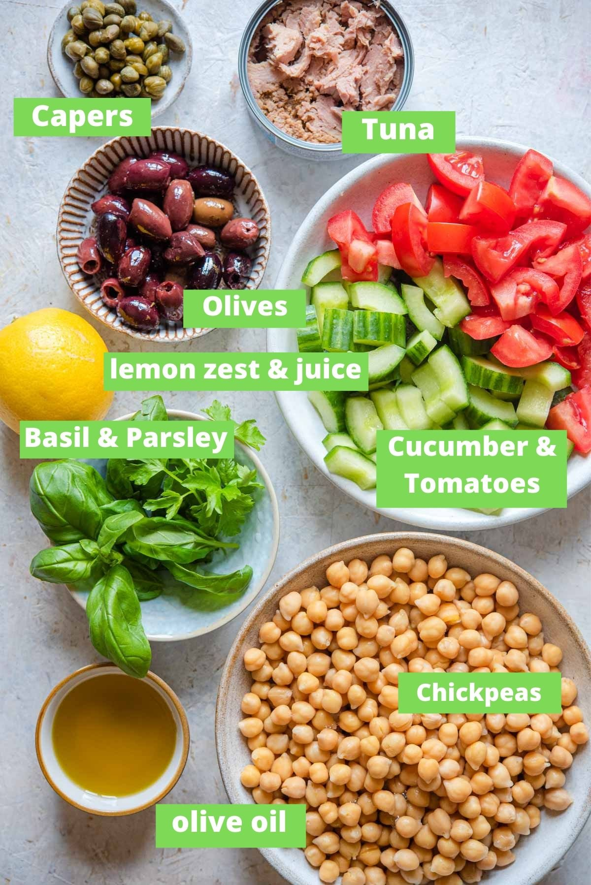 An overhead shot of ingredients you need to make a salad with chickpeas