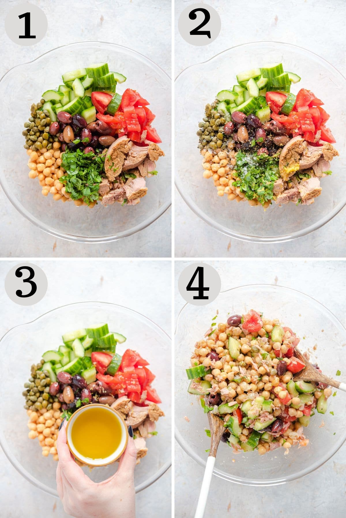 Step by step photos for making a chickpea tuna salad
