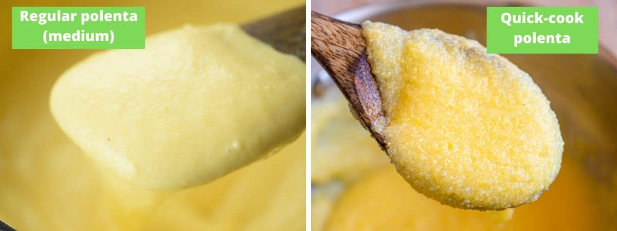 Two photos showing the difference between cooked regular polenta and quick cook polenta