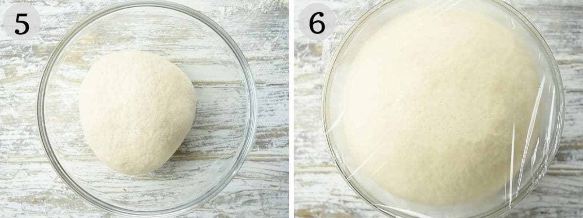 Step by step photos showing pizza dough rising