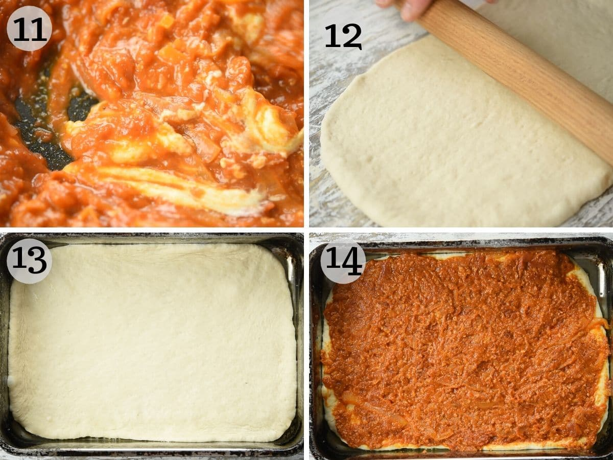 Step by step photos showing how to roll out the pizza dough