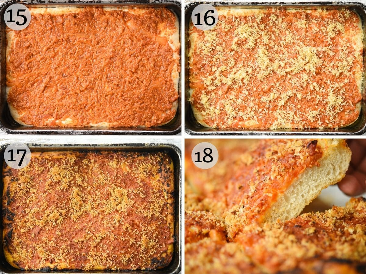 Step by step photos showing how to top the pizza with sauce