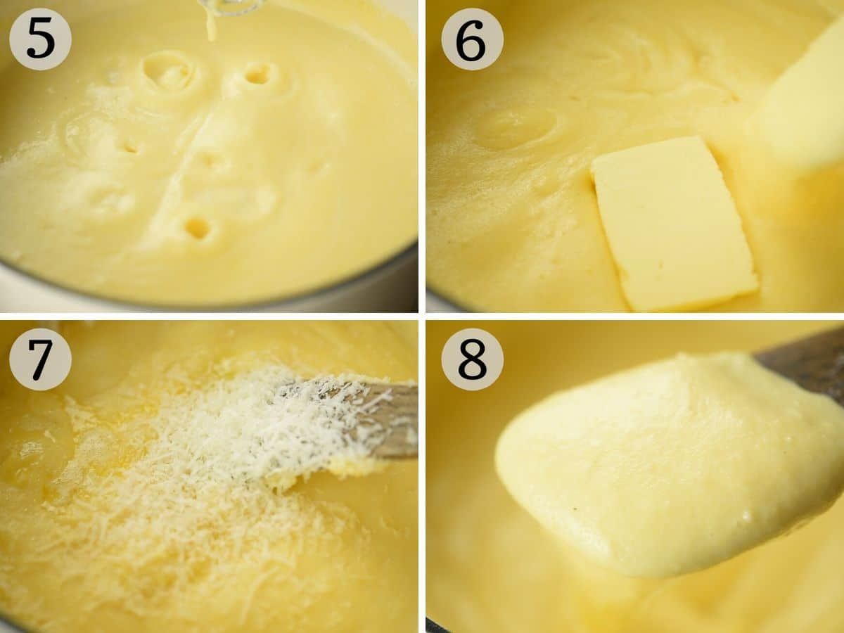 Step by step photos showing how to make creamy polenta