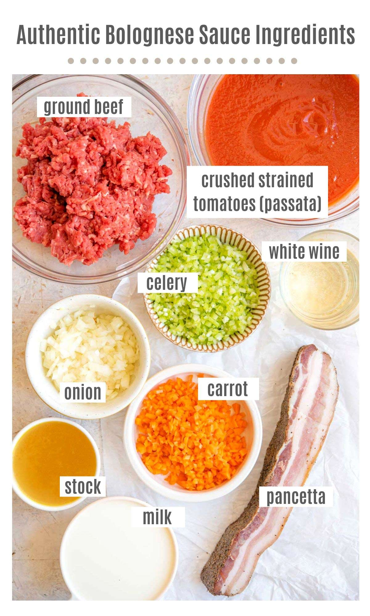 An overhead shot of all the ingredients you need to make authentic Bolognese Sauce