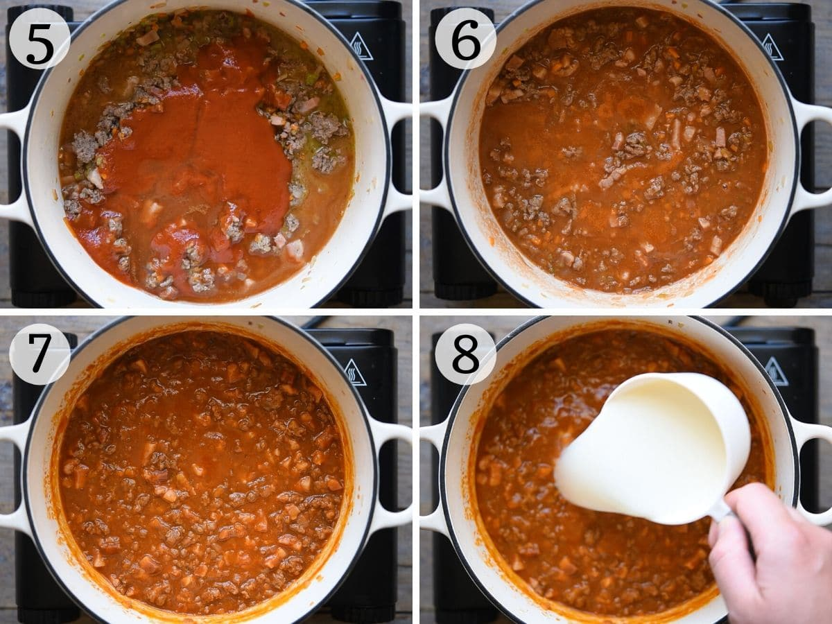 Step by step photos showing what bolognese sauce should look like at different stages