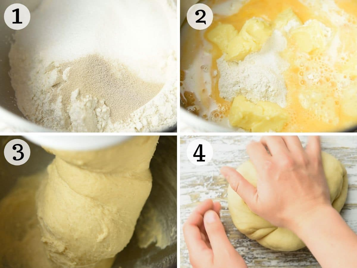Step by step photos showing how to prepare doughnut dough in a stand mixer
