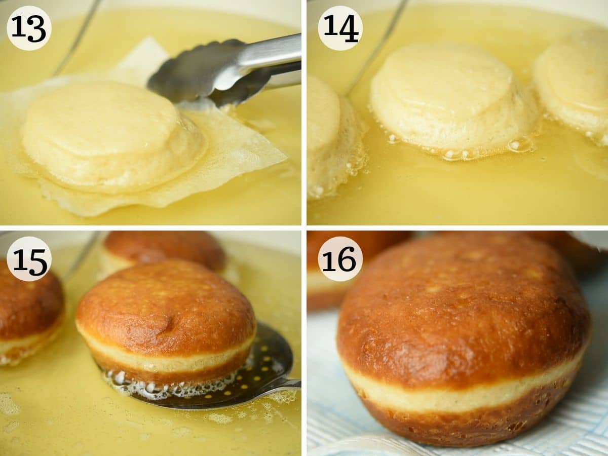 Step by step photos showing how to fry bomboloni doughnuts