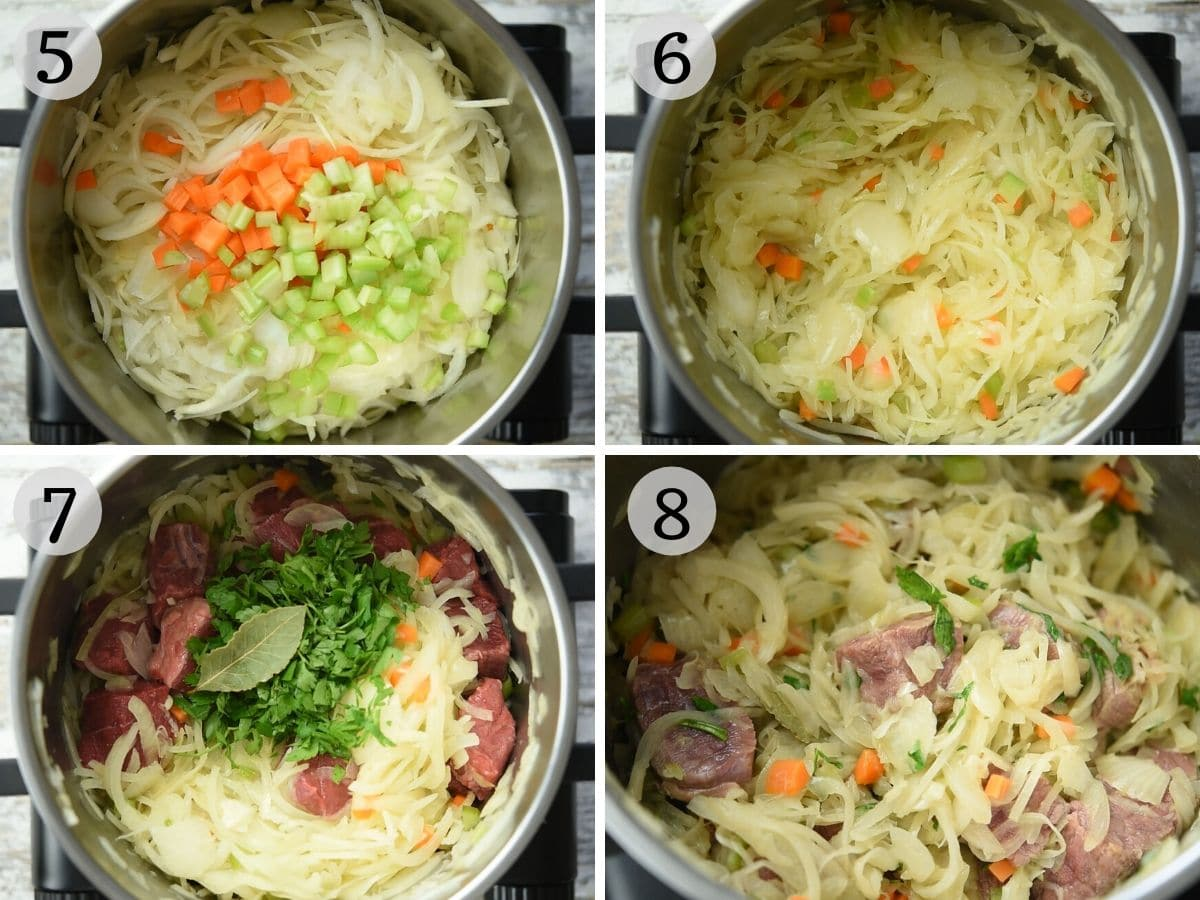 Step by step photos showing the process of making genovese sauce
