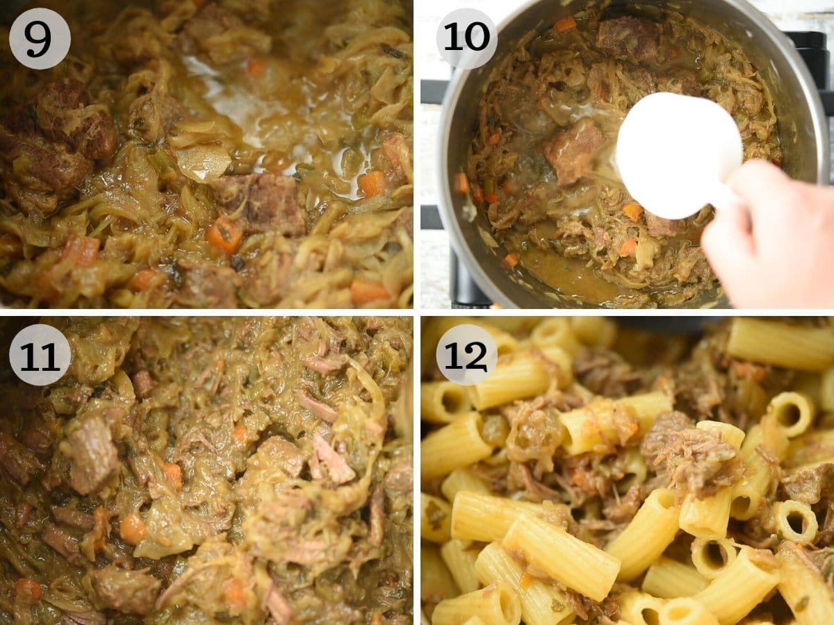 Step by step photos showing how an onion and beef sauce looks once cooked and tossed with pasta