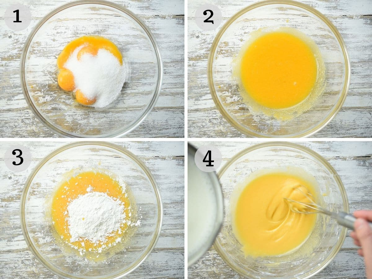 Step by step photos showing mix eggs, cornstarch, sugar and milk together