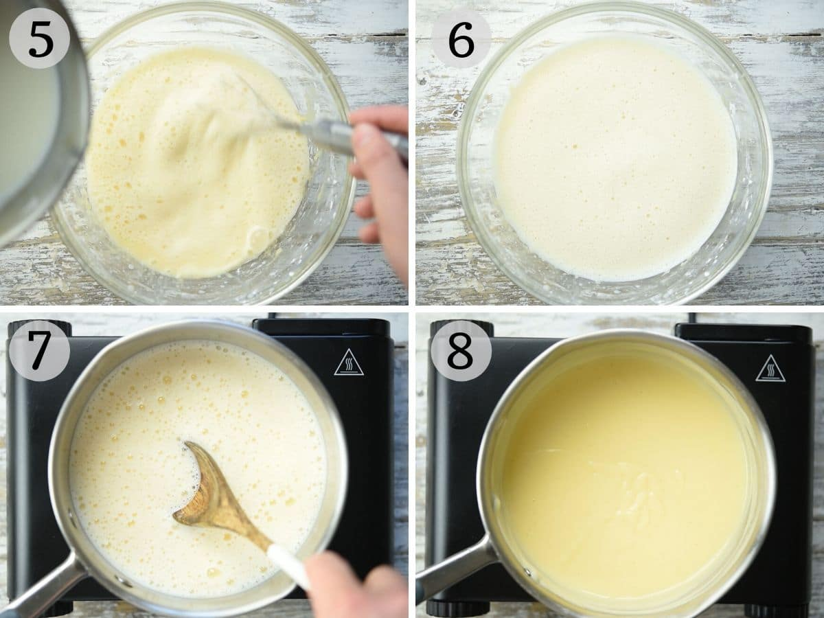 Step by step photos showing how to make pastry cream from scratch