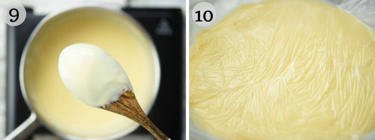 Two photos showing the consistency of pastry cream and how to cover it