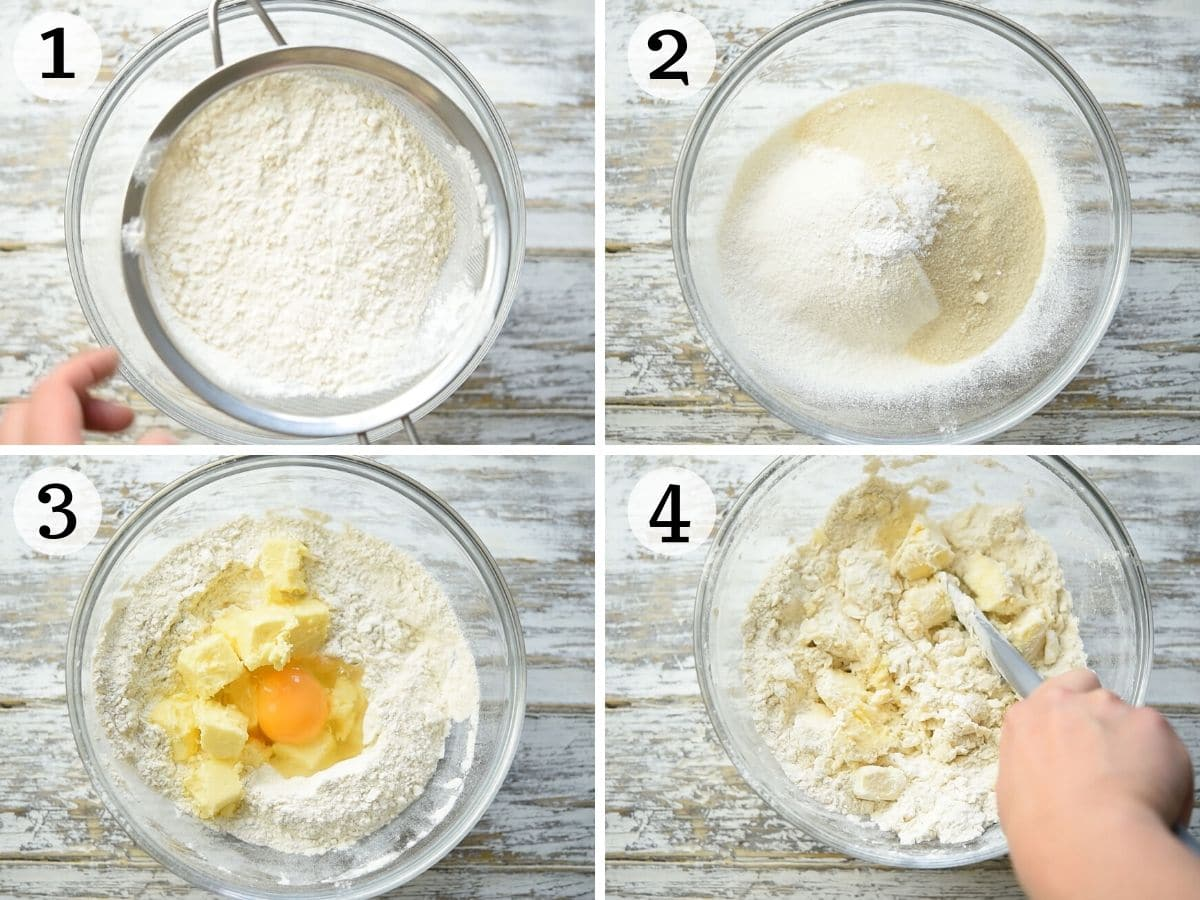 Step by step photos showing the first steps of making shortcrust pastry