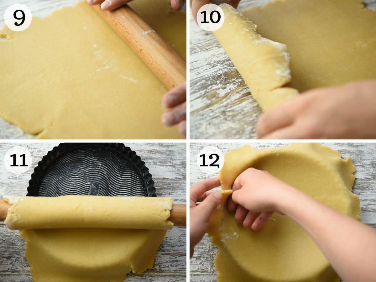 Step by step photos showing how to line a tart pan with pastry