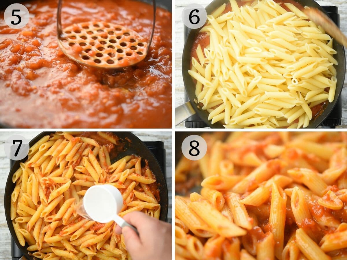 Step by step photos showing how to make penne arrabbiata
