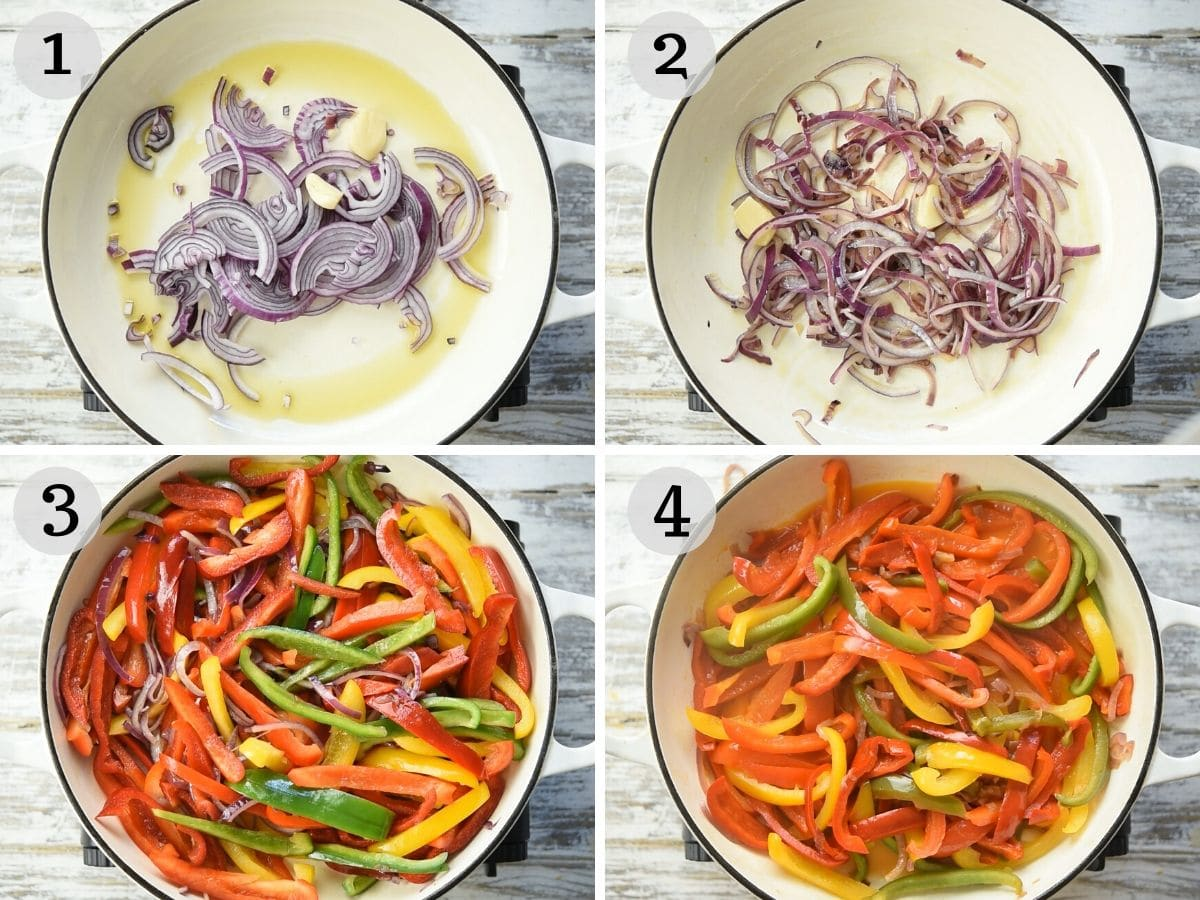 Step by step photos showing how to cook peppers and onions