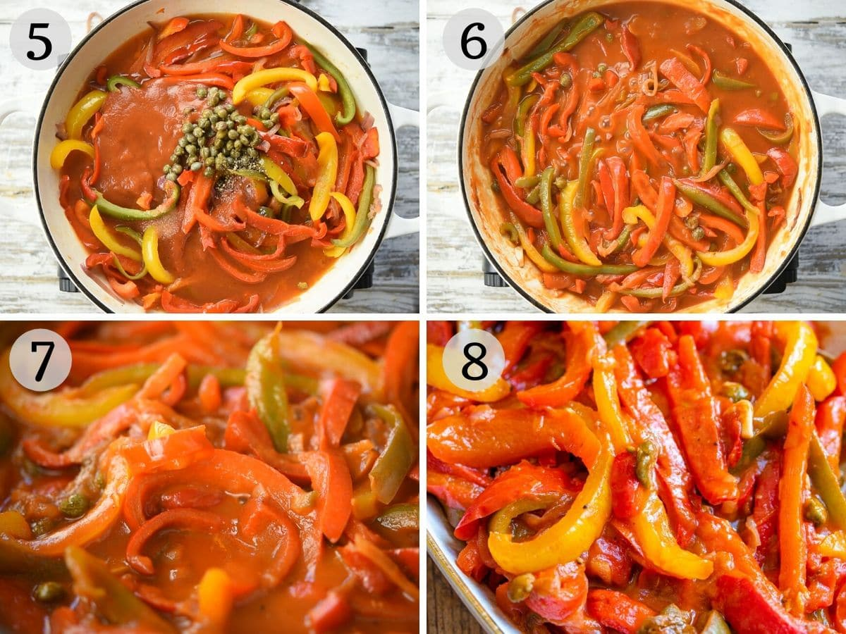 Step by step photos showing how to make peperonata