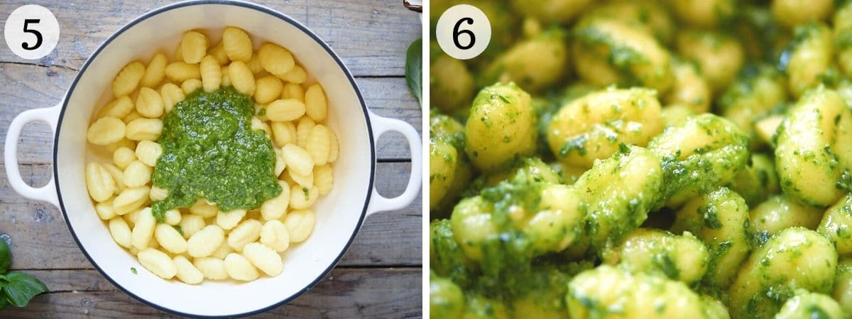 Step by step photos showing how to toss pesto with gnocchi