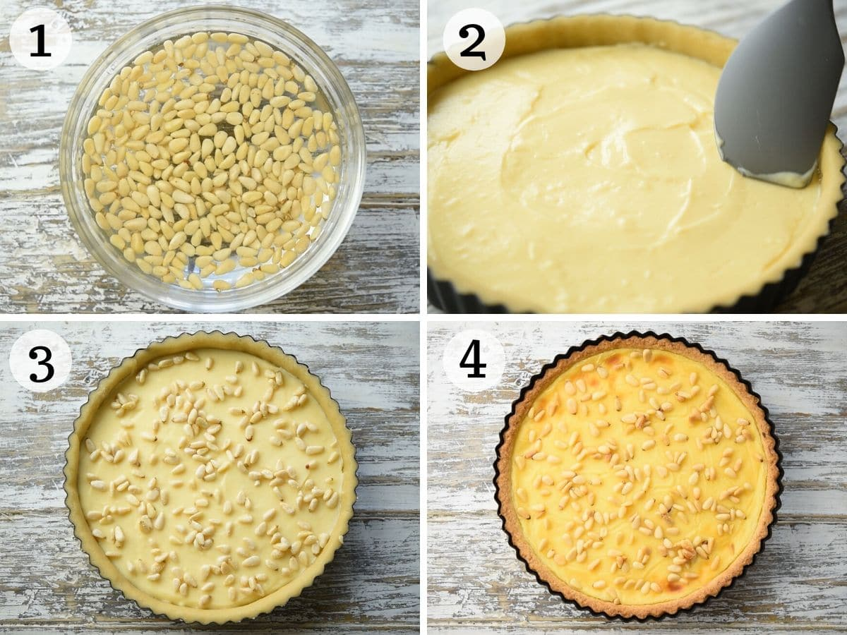 Step by step photos showing how to assemble Torta della Nonna