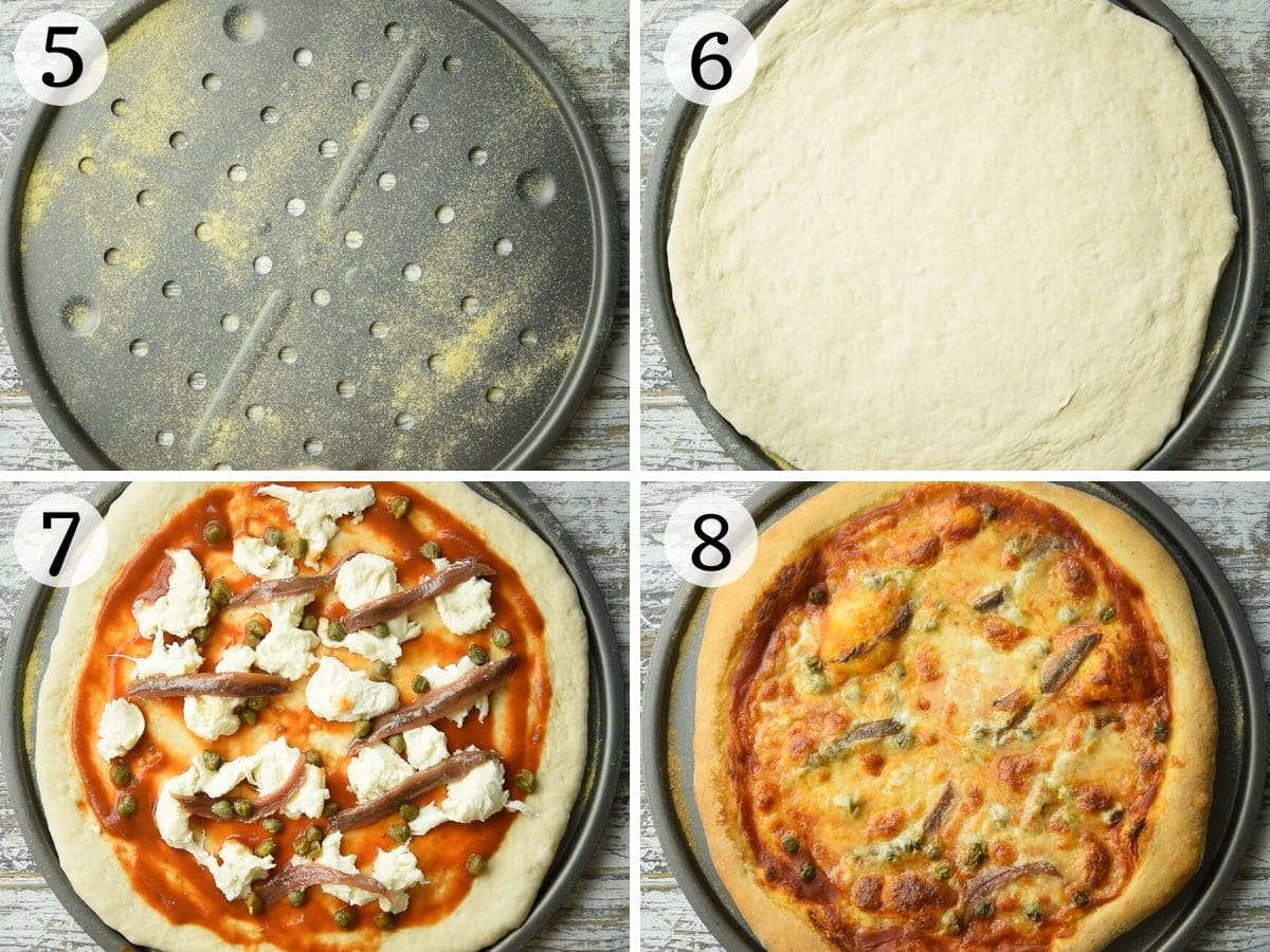 Step by step photos showing how to make anchovy pizza