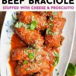 A pinterest graphic of beef braciole