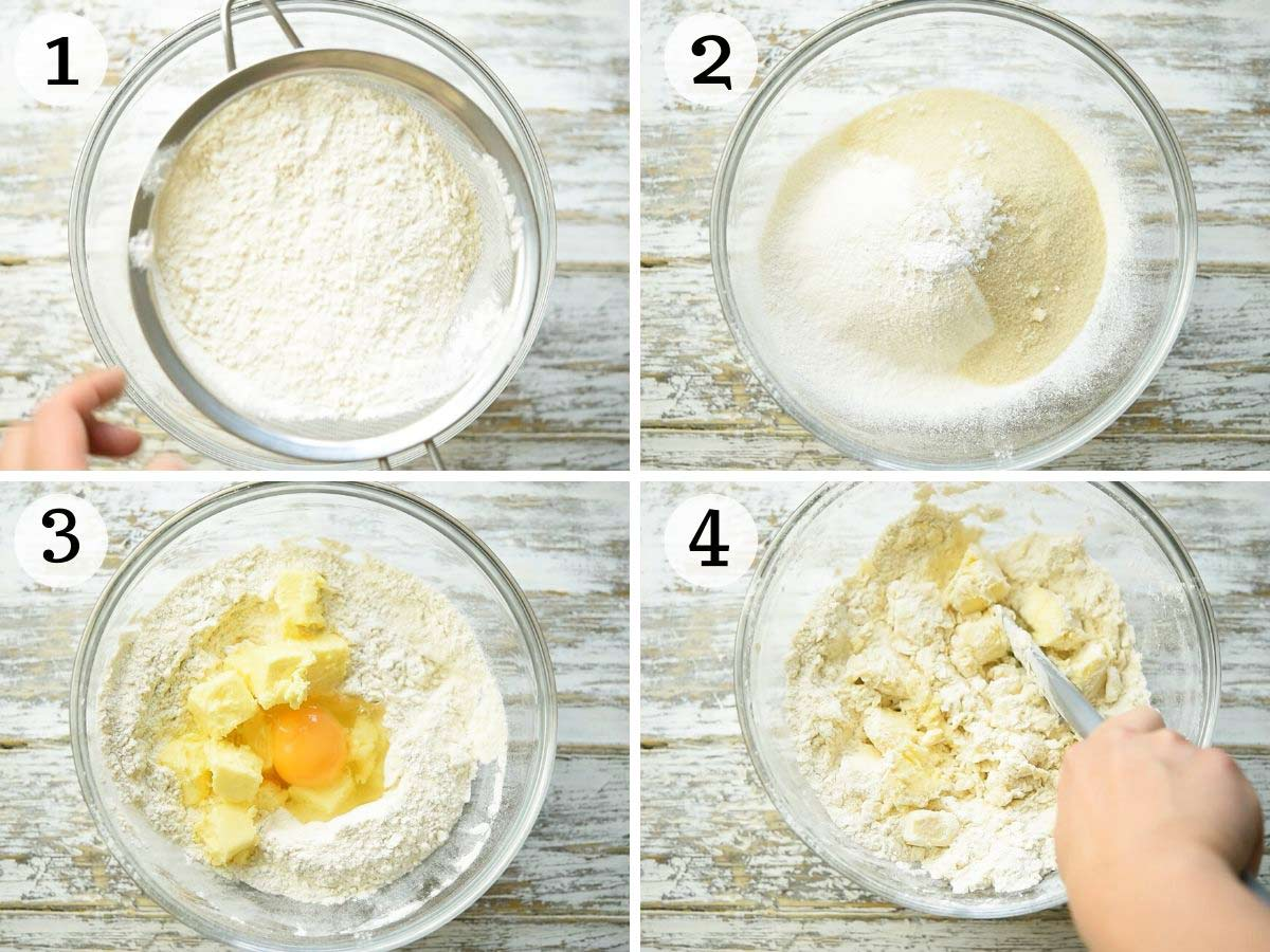 Step by step photos showing how to make pastry dough from scratch
