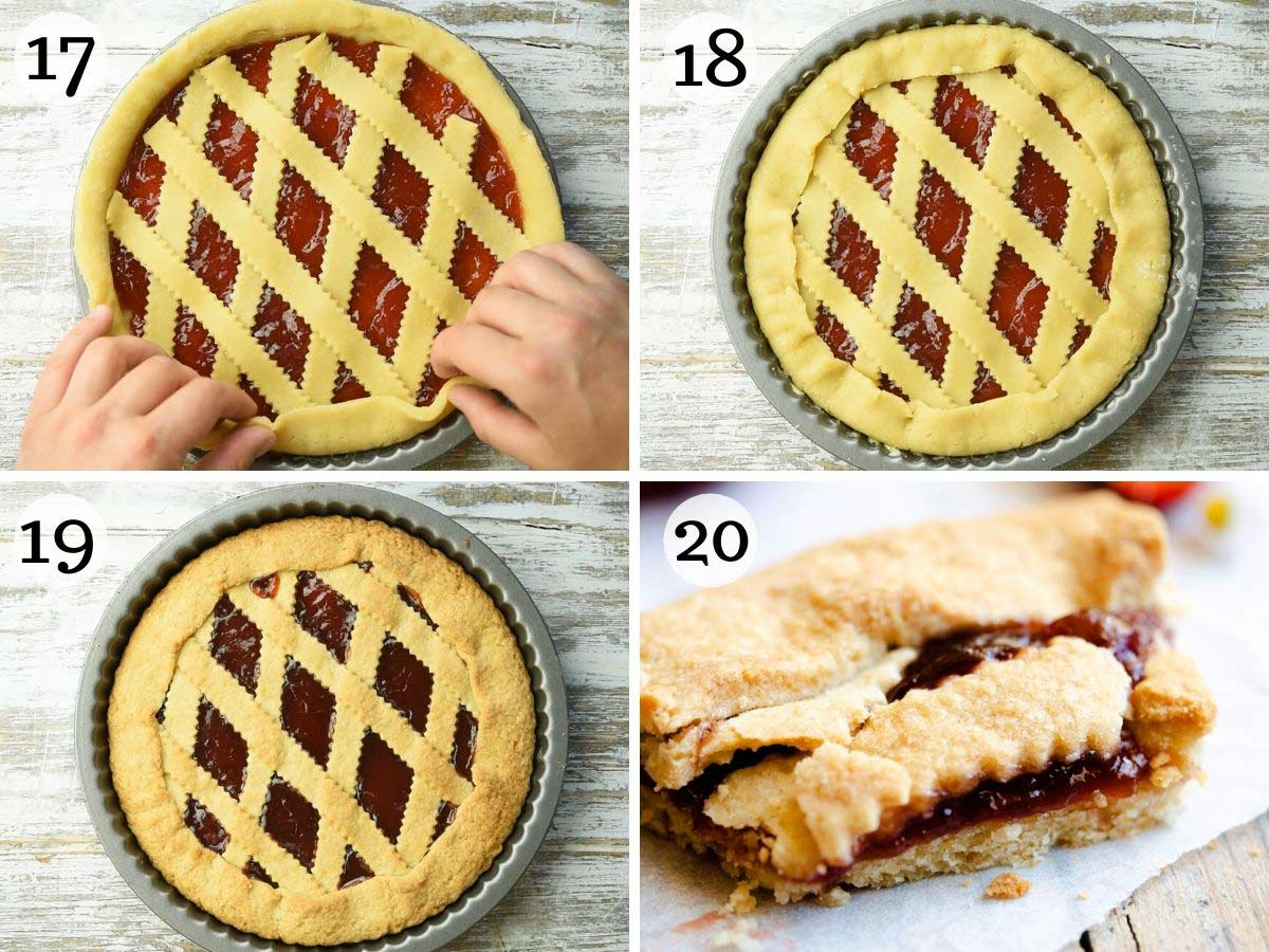 Step by step photos showing how to prepare and bake a crostata