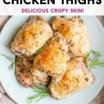 A pinterest graphic of Italian baked chicken thighs