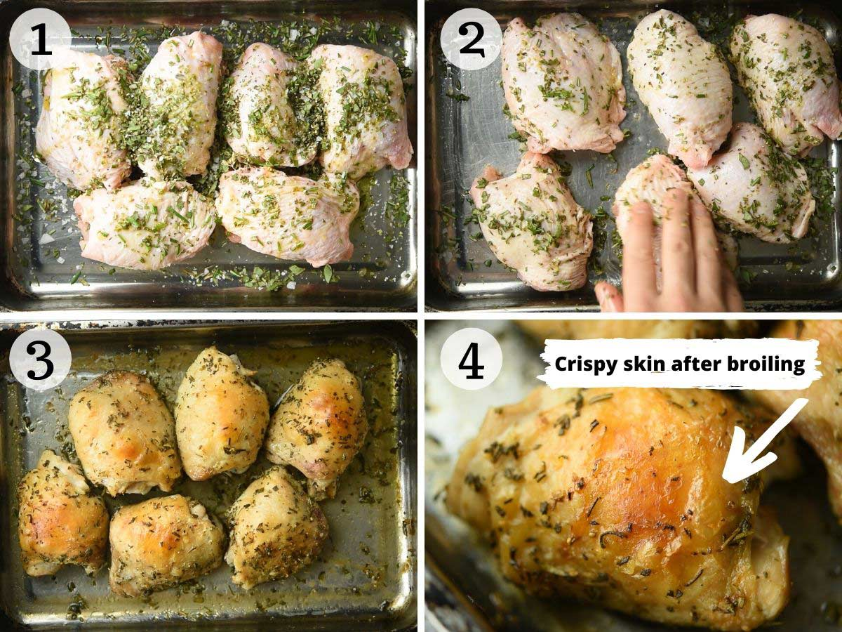 Step by step photos showing how to make crispy Italian baked chicken thighs
