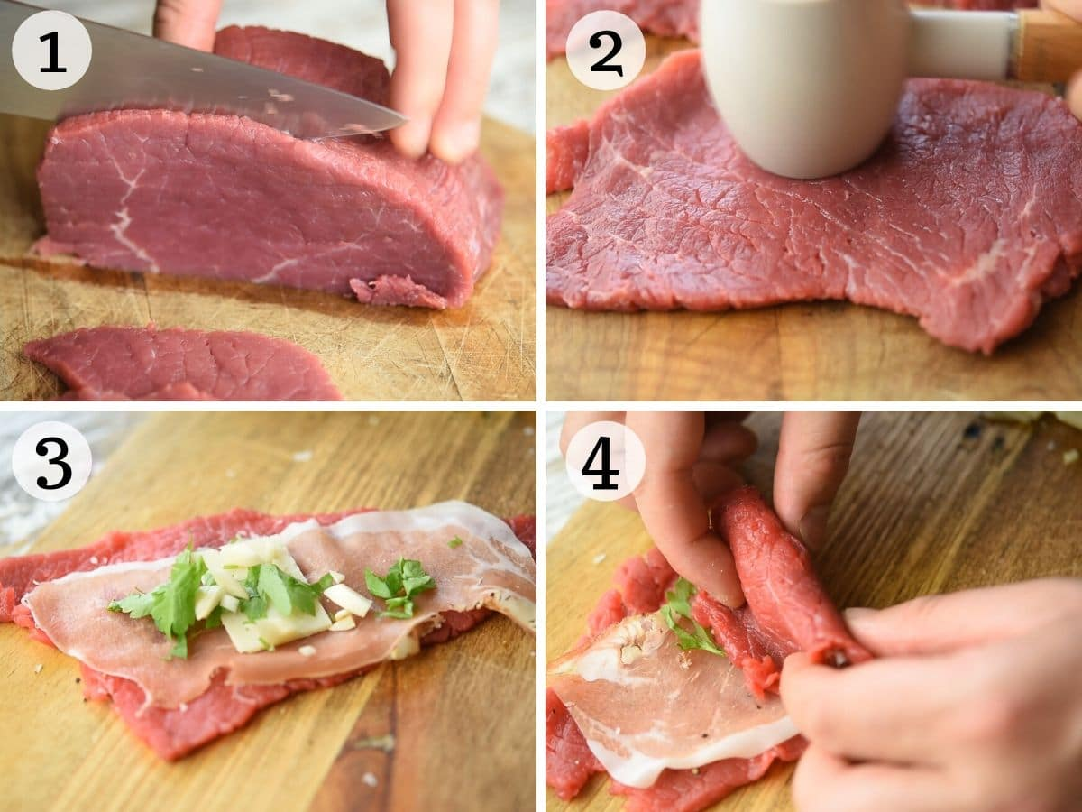 Step by step photos showing how to pound, stuff and roll beef