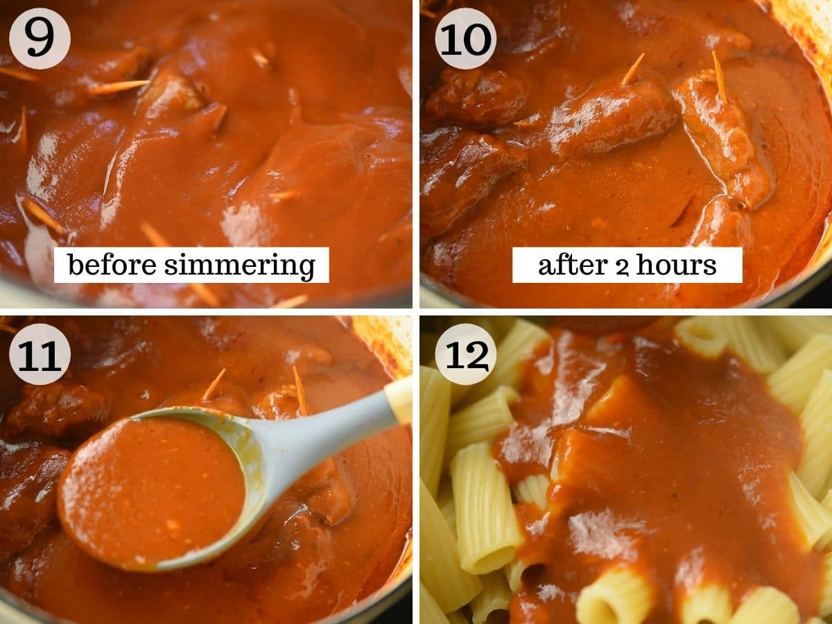 Step by step photos showing what beef braciole look like before and after cooking