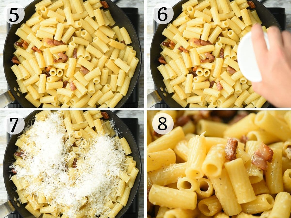 Step by step photos showing how to make pasta alla gricia