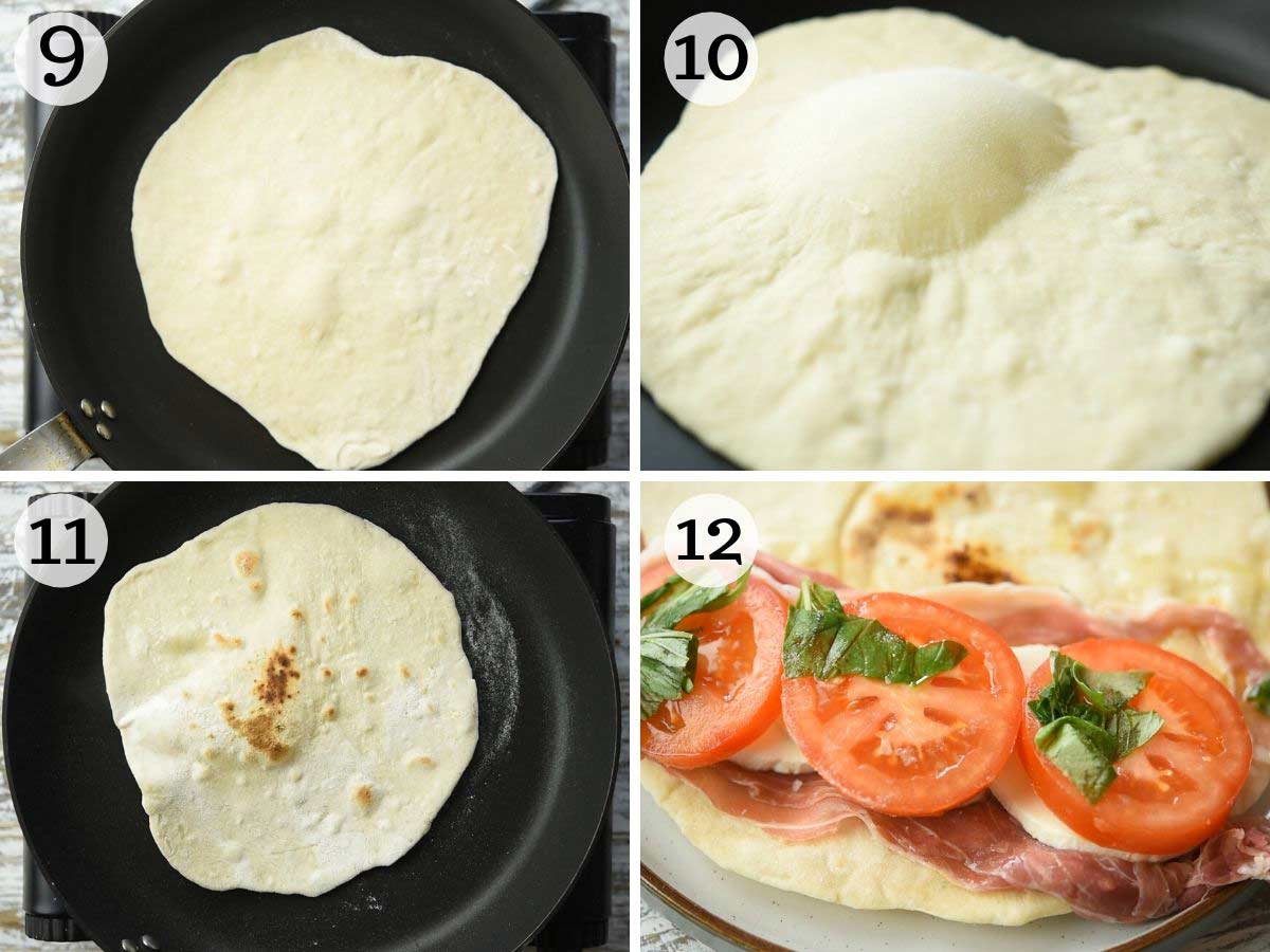 Step by step photos showing how to cook and fill a Piadina flatbread