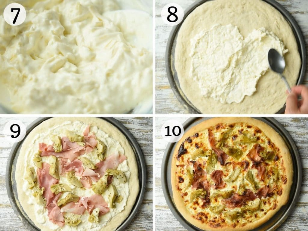 Step by step photos showing how to make artichoke pizza