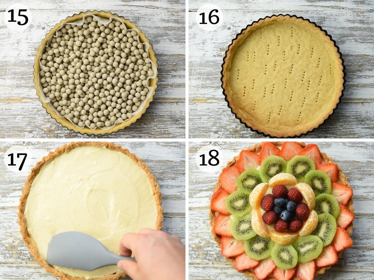 Step by step photos showing how to assemble a crostata di frutta.