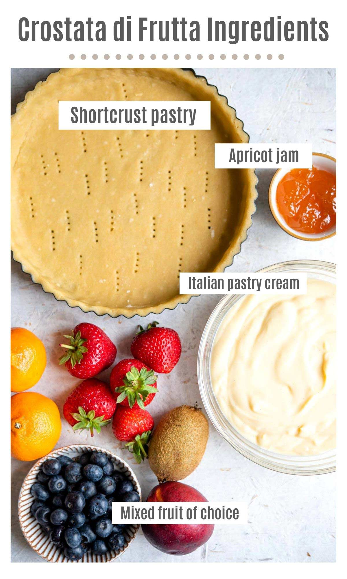 An overhead shot of the ingredients you need to make a crostata di frutta (Italian fruit tart)