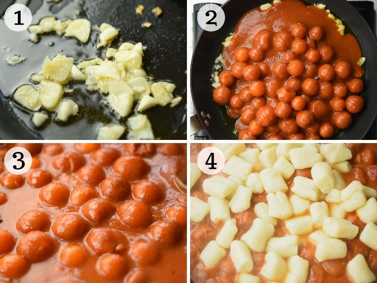 Step by step photos showing how to prepare a tomato sauce